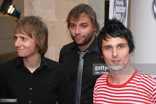 Dominic Howard Chris Wolstenholme and Matthew Bellamy of Muse Mercury Prize nominees for their album Black Holes and Revelations