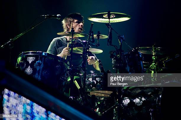 Dominic Howard drummer of Britsh rock band Muse performs on stage at Ahoy on November 14 2009 in Rotterdam Netherlands