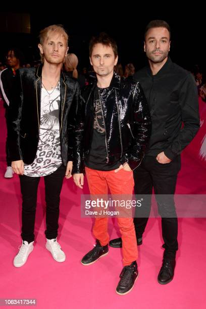 Dominic Howard, Matt Bellamy and Chris Wolstenholme of Muse attend the MTV EMAs 2018 at the Bilbao Exhibition Centre on November 04, 2018 in Bilbao,...