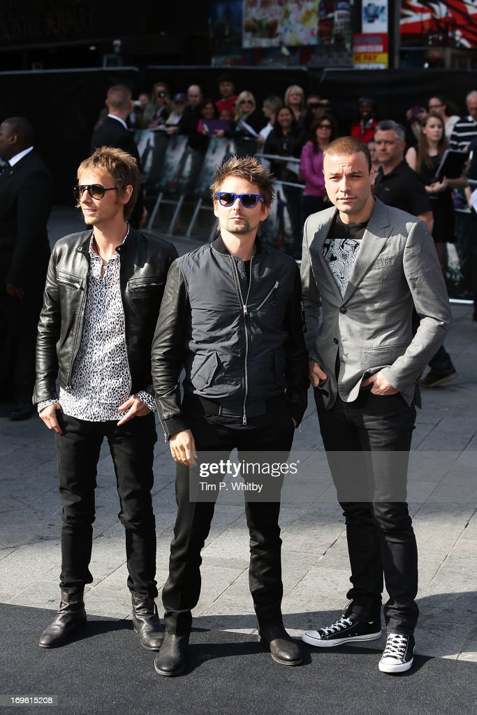 Dominic Howard, Matt Bellamy and Chris Wolstenholme of Muse attend the World Premiere of 'World War Z' at The Empire Cinema on June 2, 2013 in London, England.
