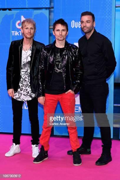 Dominic Howard, Matt Bellamy and Chris Wolstenholme of Muse attends the MTV EMAs 2018 at Bilbao Exhibition Centre on November 4, 2018 in Bilbao,...
