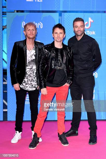 Dominic Howard, Matt Bellamy and Chris Wolstenholme of Muse attends the MTV EMAs 2018 on November 4, 2018 in Bilbao, Spain.