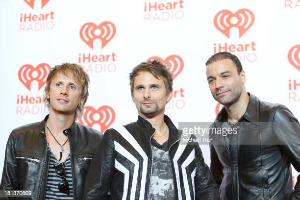 Dominic Howard Matt Bellamy and Christopher Wolstenholme of Muse arrive at the iHeartRadio Music Festival press room held at MGM Grand Arena on...