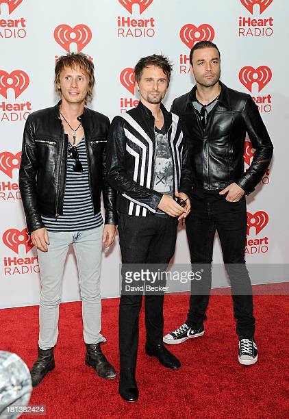 Dominic Howard, Matt Bellamy and Christopher Wolstenholme of Muse attends the iHeartRadio Music Festival at the MGM Grand Garden Arena on September...
