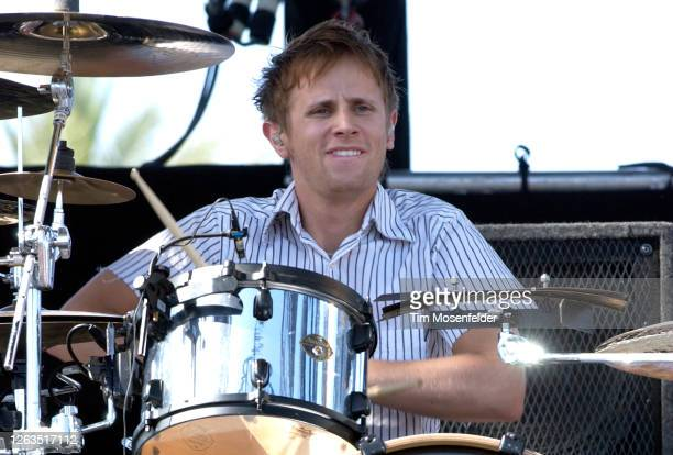 Dominic Howard of Muse performs during Coachella 2004 at the Empire Polo Fields on May 2, 2004 in Indio, California.