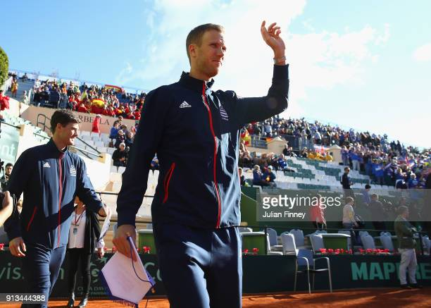 Dominic Inglot and Jamie Murray of Great Britain arrive on court during day one of the Davis Cup World Group first round match between Spain and...