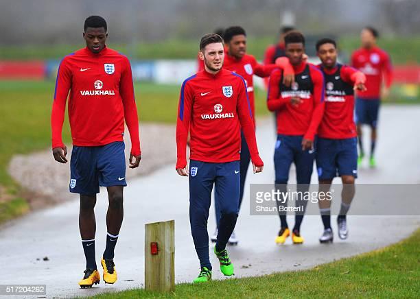 Dominic Iorfa and Matt Grimes look on during an England U21 training session ahead of their UEFA U21 European Championship qualifier against...