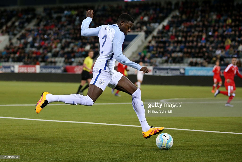 Dominic Iorfa of England U21 plays the ball during the European Under 21 Qualifier match between Switzerland U21 and England U21 at Stockhorn Arena on March 26, 2016 in Thun, Switzerland.
