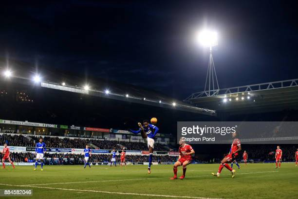 Dominic Iorfa of Ipswich Town clears the ball during the Sky Bet Championship match between Ipswich Town and Nottingham Forest at Portman Road on...