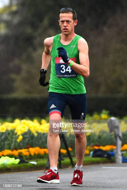 Dominic King competes in the mens 20km walking race during the Muller British Athletics Marathon and 20km Walk Trials at Kew Gardens on March 26,...