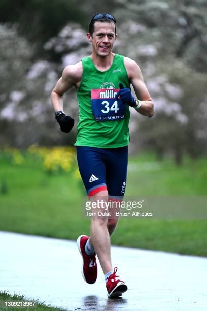 Dominic King in action as he competes in the mens 20km walking race during the Muller British Athletics Marathon and 20km Walk Trials at Kew Gardens...