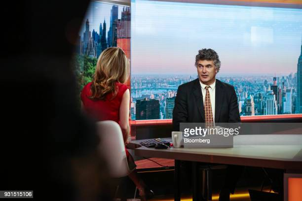 Dominic Konstam managing director of Deutsche Bank Securities Inc speaks during a Bloomberg Television interview in New York US on Tuesday March 13...