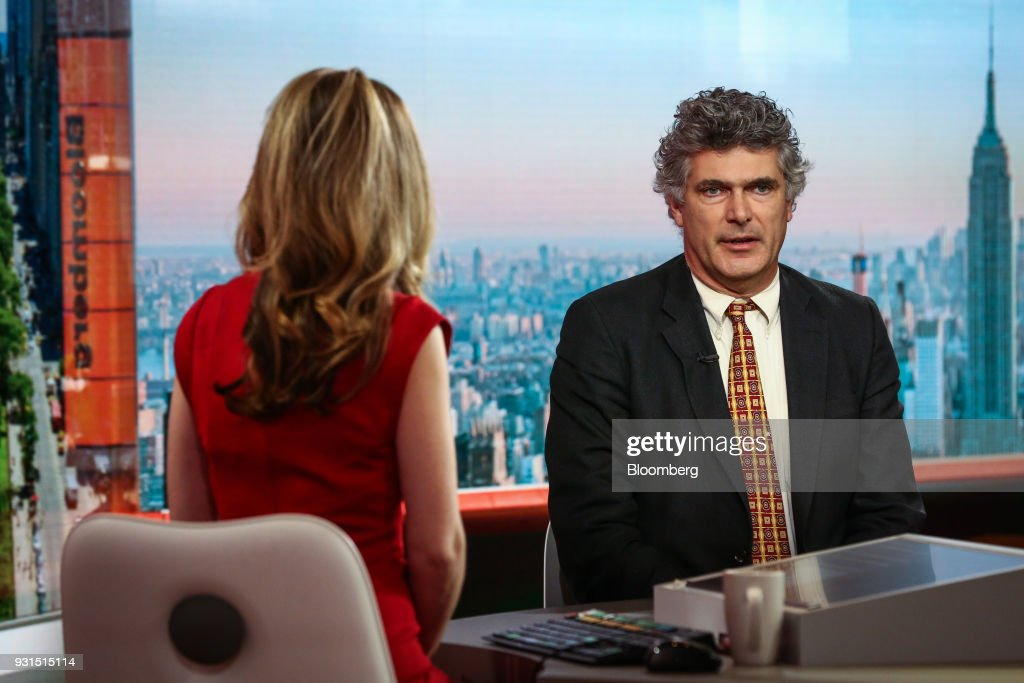 Dominic Konstam, managing director of Deutsche Bank Securities Inc., speaks during a Bloomberg Television interview in New York, U.S., on Tuesday, March 13, 2018. Konstam discussed his outlook on inflation and whether the Federal Reserve will increase interest rates more than three times. Photographer: Christopher Goodney/Bloomberg via Getty Images