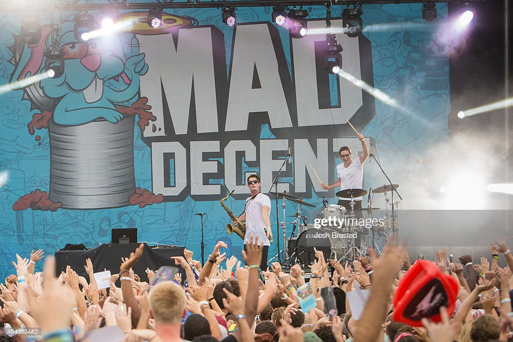 Dominic Lalli (L) and Jeremy Salken of Big Gigantic perform at Mad Decent Block Party at Mardi Gras World on August 29, 2014 in New Orleans, Louisiana.