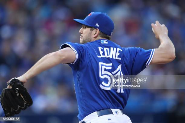 Dominic Leone of the Toronto Blue Jays delivers a pitch in the eighth inning during MLB game action against the Detroit Tigers at Rogers Centre on...