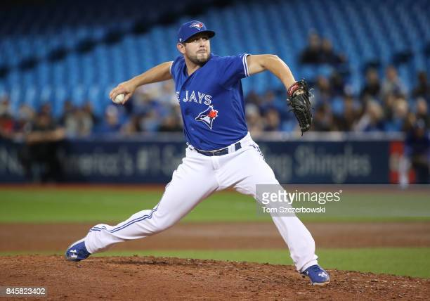 Dominic Leone of the Toronto Blue Jays delivers a pitch in the ninth inning during MLB game action against the Baltimore Orioles at Rogers Centre on...