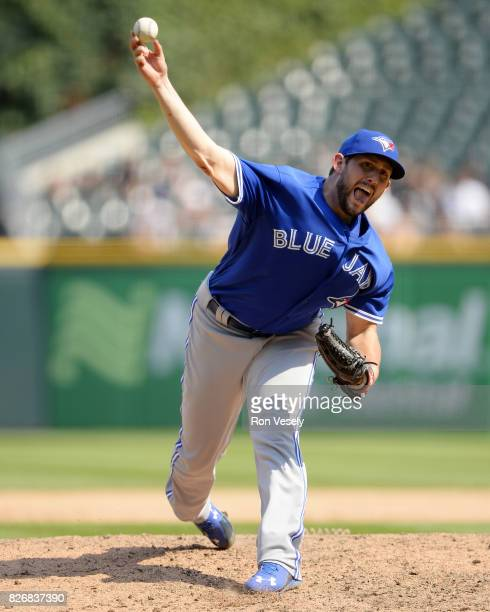 Dominic Leone of the Toronto Blue Jays pitches against the Chicago White Sox on August 2 2017 at Guaranteed Rate Field in Chicago Illinois