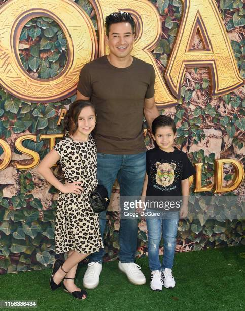 "Dominic Lopez, Mario Lopez, and Gia Francesca Lopez arrive at the LA Premiere Of Paramount Pictures' ""Dora And The Lost City Of Gold"" at Regal..."