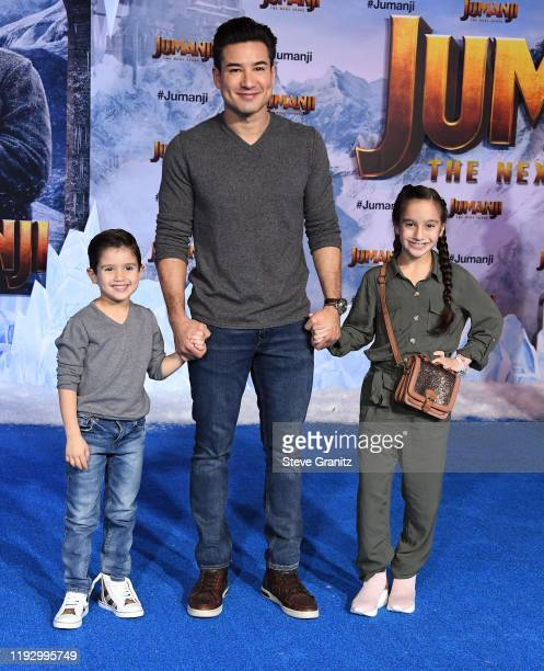 "Dominic Lopez, Mario Lopez, and Gia Francesca Lopez attend the premiere of Sony Pictures' ""Jumanji: The Next Level"" at TCL Chinese Theatre on..."