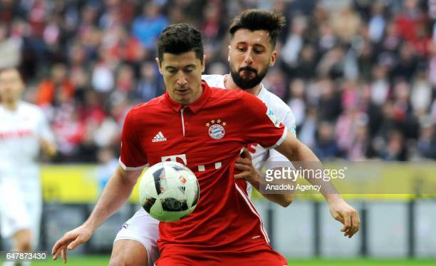 Dominic Maroh of Cologne in action against Robert Lewandowski of Bayern Munich during the Bundesliga soccer match between 1 FC Cologne and FC Bayern...