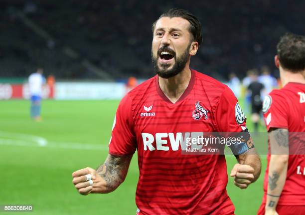 Dominic Maroh of Koeln jubilates after scoring the second goal during the DFB Cup match between Hertha BSC and 1 FC Koeln at Olympiastadion on...