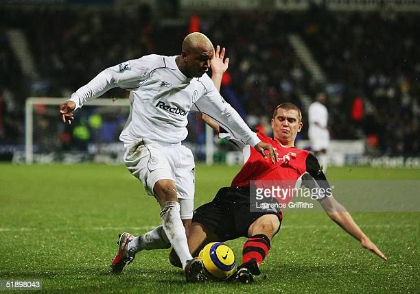 Dominic Matteo of Blackburn battles with El Hadji Diouf of Bolton during the FA Barclays Premiership match between Bolton Wanderers and Blackburn...