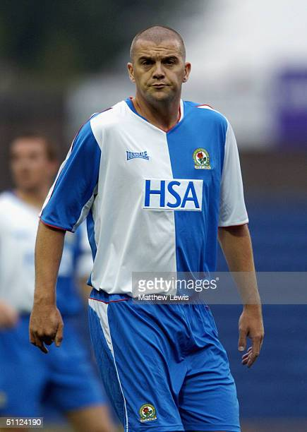 Dominic Matteo of Blackburn in action during the Pre-Season friendly match between Stockport County and Blackburn Rovers at Edgeley Park on July 28,...