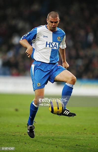Dominic Matteo of Blackburn Rovers controls the ball during the Barclays Premiership match between Crystal Palace and Blackburn Rovers at Selhurst...