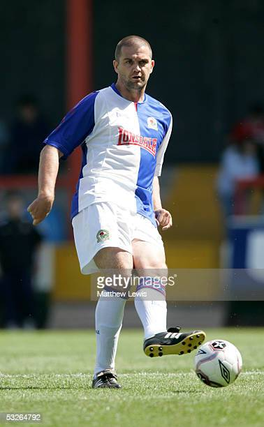 Dominic Matteo of Blackburn Rovers in action during the Pre-Season Friendly match between Morecambe and Blackburn Rovers at Christie Park on July 16,...