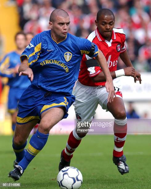 Dominic Matteo of Leeds United and Shaun Bartlett of Charlton Athletic in action during the FA Barclaycard Premiership match between Charlton...