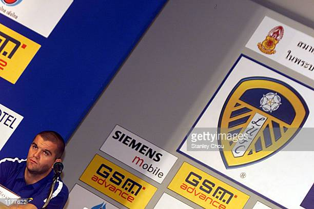 Dominic Matteo of Leeds United pays attention to questions directed to him by a Journalist during a press conference held at the Merchant Court Hotel...