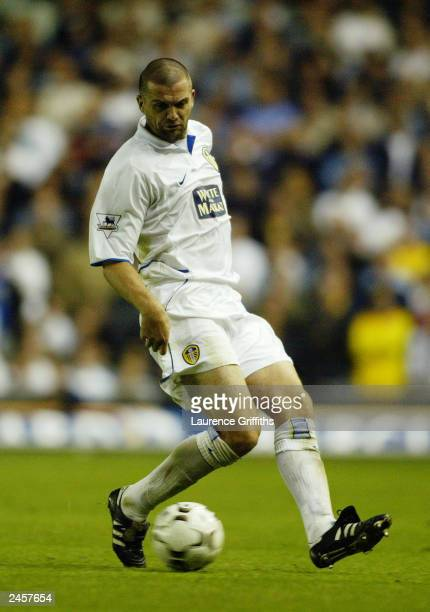 Dominic Matteo of Leeds United turns with the ball during the FA Barclaycard Premiership match between Leeds United and Southampton on August 26,...