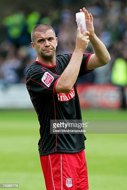 Dominic Matteo of Stoke City looks dejected as he acknowledges the fans after the CocaCola Championship match between Queens Park Rangers and Stoke...