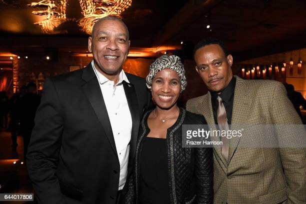 Dominic M'Benga LaShana Spann and guest attend the 14th Annual Global Green Pre Oscar Party at TAO Hollywood on February 22 2017 in Los Angeles...