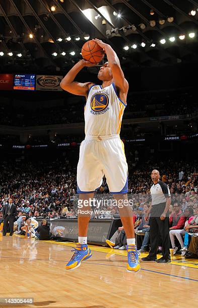Dominic McGuire of the Golden State Warriors shoots a jump shot against the Los Angeles Lakers on April 18 2012 at Oracle Arena in Oakland California...