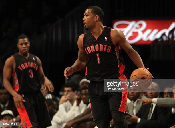 Dominic McGuire of the Toronto Raptors in action against the Brooklyn Nets at the Barclays Center on November 3 2012 in the Brooklyn borough of New...