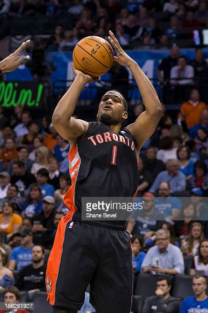 Dominic McGuire of the Toronto Raptors in action against the Oklahoma City Thunder during the NBA basketball game on November 6 2012 at the...