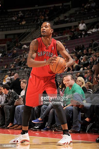 Dominic McGuire of the Toronto Raptors looks for the next move during the game between the Detroit Pistons and the Toronto Raptors on October 10 2012...