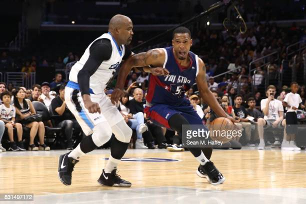 Dominic McGuire of the TriState drives with the ball against Cuttino Mobley of the Power during week eight of the BIG3 three on three basketball...