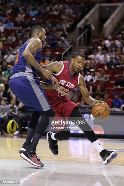Dominic McGuire of the TriState handles the ball against DerMarr Johnson of the 3's Company in week nine of the BIG3 threeonthree basketball league...