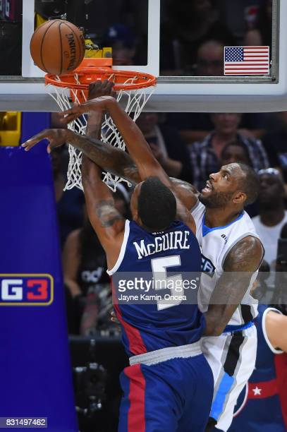 Dominic McGuire of the TriState has his shot blocked by Paul McPherson of the Power during week eight of the BIG3 three on three basketball league at...