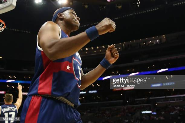 Dominic McGuire of the TriState reacts to a play during week eight of the BIG3 three on three basketball league at Staples Center on August 13 2017...