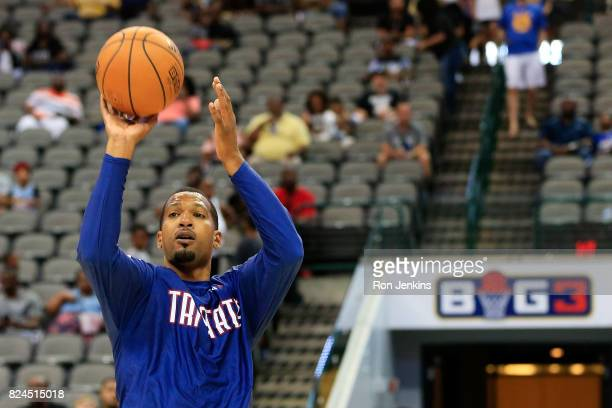 Dominic McGuire of TriState warms up before week six of the BIG3 three on three basketball league at American Airlines Center on July 30 2017 in...