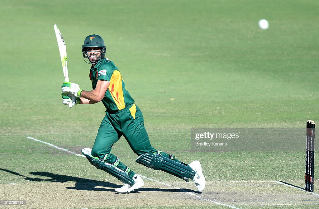 Dominic Michael of Tasmania plays a shot during the Matador BBQs One Day Cup match between Tasmania and the Cricket Australia XI at Allan Border Field on October 5, 2016 in Brisbane, Australia.