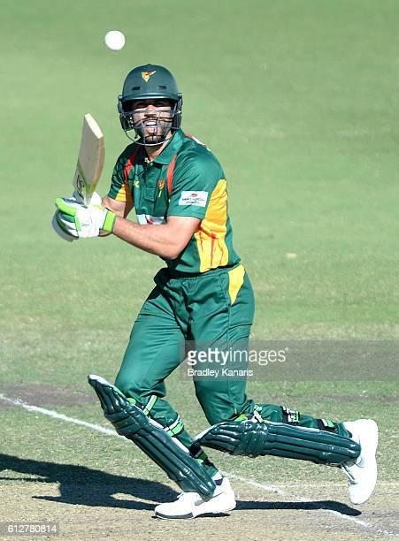 Dominic Michael of Tasmania plays a shot during the Matador BBQs One Day Cup match between Tasmania and the Cricket Australia XI at Allan Border...
