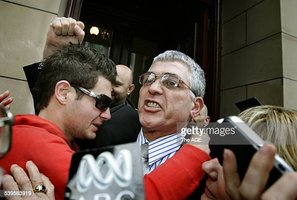 Dominic Mick Gatto outside the Supreme Court after being acquitted of murdering Andrew Veniamin in a Carlton restaurant in 2004 hugs his son and wife...