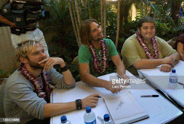 Dominic Monaghan Josh Holloway and Jorge Garcia during Cast of 'Lost' Raises Money for American Cross Hurricane Katrina Relief Fund in Honolulu at in...