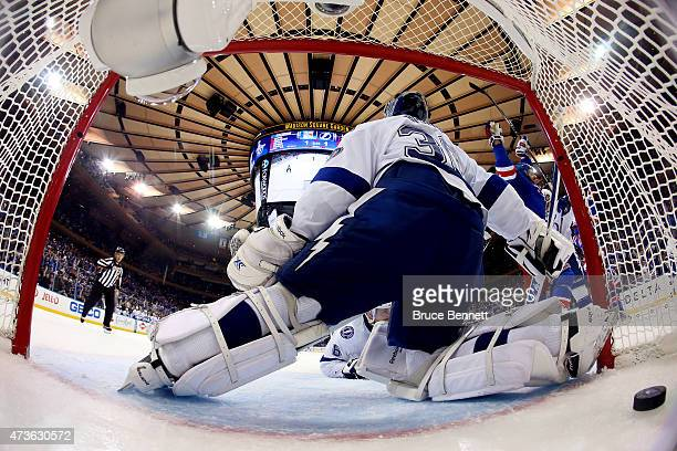 Dominic Moore of the New York Rangers celebrates after scoring the gamewinning goal against Ben Bishop of the Tampa Bay Lightning in the third period...