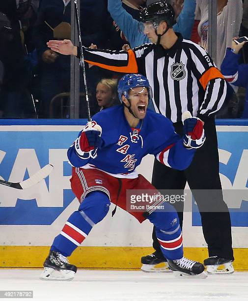 Dominic Moore of the New York Rangers celebrates his goal at 528 of the first period against the Columbus Blue Jackets at Madison Square Garden on...