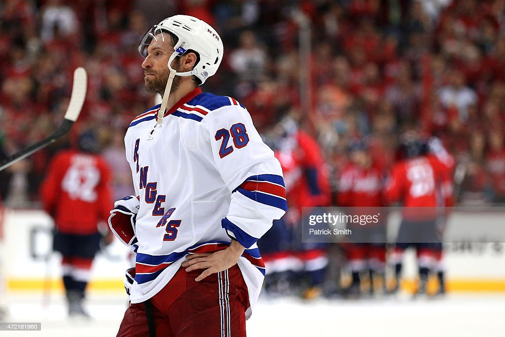 Dominic Moore #28 of the New York Rangers reacts after losing to the Washington Capitals in Game Three of the Eastern Conference Semifinals during the 2015 NHL Stanley Cup Playoffs at Verizon Center on May 4, 2015 in Washington, DC. The Washington Capitals won, 1-0.